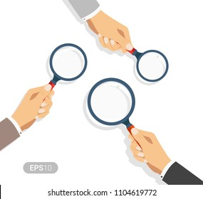 Hands holding a magnifying glass. Concept of searching, detecting and analyzing. New vector illustration in flat design on white background. Detailed flat style