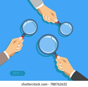 Hands holding a magnifying glass. Concept of searching, detecting and analyzing. New vector illustration in flat design on blue background. Detailed