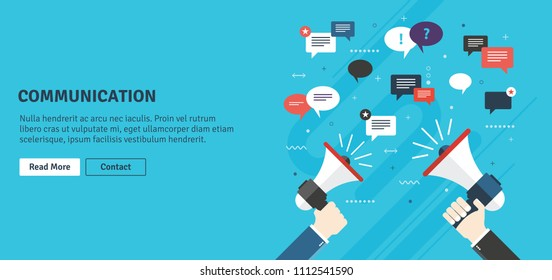 Hands holding a megaphones. Notice or announcement, promotion a product, service or event and message icons and comments. Flat design vector business illustration concept.