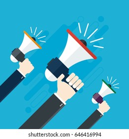 Hands holding a megaphones. Notice or announcement, promotion a product, service or event. Flat design vector business illustration concept.
