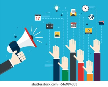 Hands holding a megaphones and hands raised. Job advertisement, volunteers, voting and opinion. Concept of opinion, collaboration and business. Design in Vector illustration.