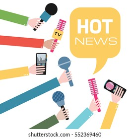 Hands holding microphones and voice recorders. Hot news. Press interview. Journalism concept illustration in flat style. Vector.