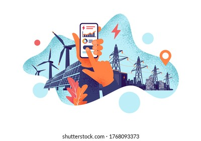 Hands holding mobile cell phone with electricity energy usage smartphone monitoring app. Sustainable renewable power plant storage station and solar panels, wind and city smart power transmission grid
