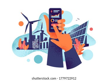 Hands holding mobile cell phone with electricity energy usage smartphone monitoring app. Sustainable renewable power plant battery storage with solar panels, wind. Grain style vector illustration.