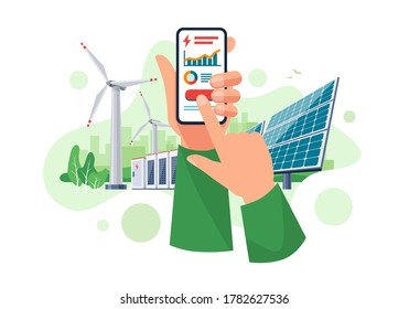 Hands holding mobile cell phone with electricity energy usage smartphone monitoring app. Sustainable renewable power plant storage station with solar panels, wind. Cartoon style vector illustration.