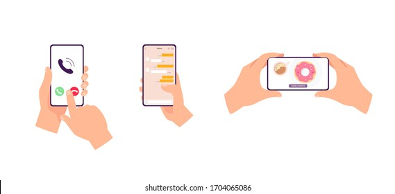Hands holding mobile phone with app interface - isolated set of smartphone users pressing Decline call button, scrolling messenger and taking food photo. Flat vector illustration