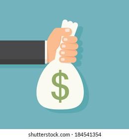 Hands holding money bag, vector