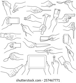 Hands holding objects collection - vector illustration