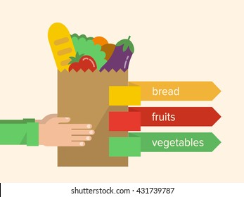 Hands holding a paper bag with a healthy food - bread, vegetables and fruits. Grocery shopping, food market concept. Isolated vector illustration flat design.