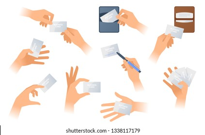 The hands are holding a paper business cards. The male hand holds a visiting card and writes a contacts, the female hand  takes out calling card from cardholder. Flat vector template illustration set.