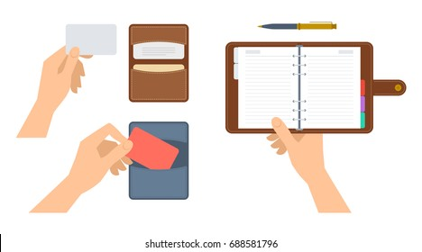 Hands are holding paper organizer and cardholder with cdedit cards. Flat illustration of schedule planner and cardboard with leather covers. Vector concept elements isolated on white background.