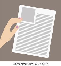 Hands holding paper  sheet