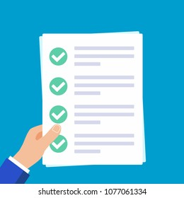 Hands holding papers with claim form on it, paper sheets, check marks tick OK  in the circle on the list isolated on light blue background flat vector illustration. Concept of succesfull check list