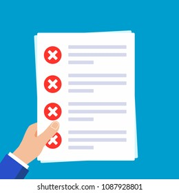 Hands holding papers with claim form on it, paper sheets, check marks crosses x  in the circle on the list isolated on light blue background flat vector illustration. Concept of succesfull check list