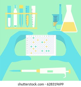 Hands holding pcr plate in scientific lab with usual microbiological equipment. Stock vector illustration for research, diagnostics, medicine.