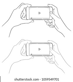 Hands holding phone, sketch style.