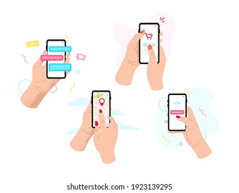 Hands holding phone. Social networking concept.  Vector flat cartoon illustration for web sites and banners design