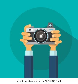 Hands Holding Photo Camera Photography Flat Design Vector Illustration