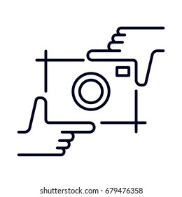 Hands holding photo camera shutter. Photography and photo studio hand drawn logo sketch. Vector design element, business sign, logo, identity, branding for business. Editable stroke.