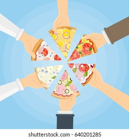 Hands holding pizza.