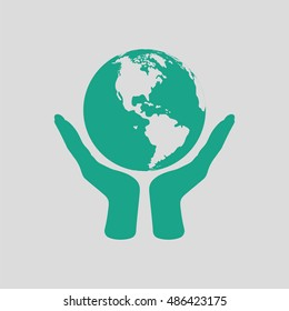 Hands holding planet icon. Gray background with green. Vector illustration.