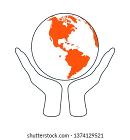 Hands Holding Planet Icon. Thin Line With Red Fill Design. Vector Illustration.