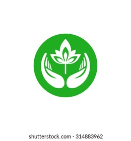 Hands holding plant abstract logo template.