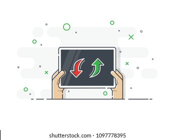 Hands holding player substitution board. Trendy flat vector on white background. Vector Illustration.
