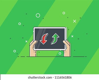 Hands holding player substitution board. Trendy flat vector on green background. Vector Illustration.