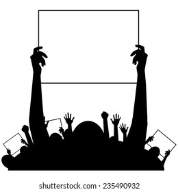 Hands holding protest signs background EPS10 vector stock illustration