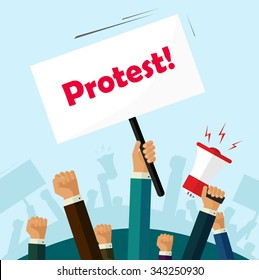 Hands holding protest signs and bullhorn, crowd of people protesters background, political, politic crisis poster, fists, revolution placard concept symbol flat style modern design vector illustration