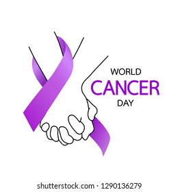 Hands holding with purple ribbons. World Cancer Day concept, February 4. Cancer Awareness icon design for poster and banner. Vector illustration isolated on white background.