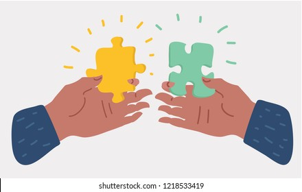 Hands holding and putting puzzle pieces. Solving jigsaw puzzle. Teamwork business concept. Vector cartoon illustration in modern concept