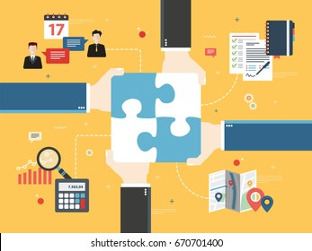 Hands holding puzzle pieces and icons business, finance, location. Concept of teamwork, cooperation, partnership, success, team, business, finance and strategy. Flat vector illustration.