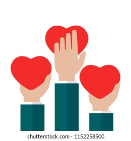 Hands holding red heart on white background. charity, philanthropy, support, giving, help, love concept. Flat vector illustration.
