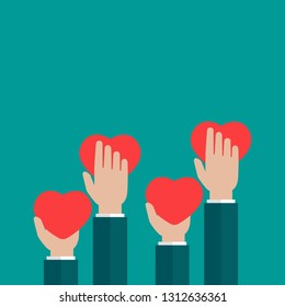 Hands holding red heart on blue background. charity, philanthropy, support, giving, help, love concept. Flat vector illustration.