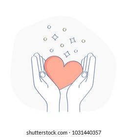 Hands holding red heart, receive or accept love, kindness, care, help, donation or hope. Charity, philanthropy, volunteering or assistance vector icon. Modern line design concept.