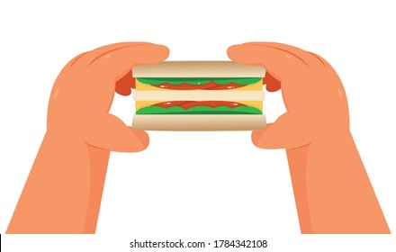 Hands holding a sandwiches on white background - illustration vector