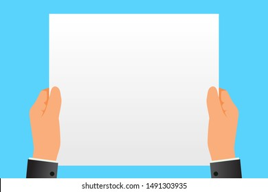 Hands holding a sheet of white paper vector illustration