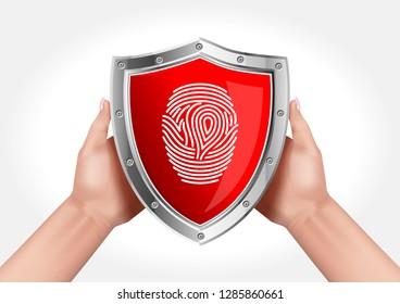 Hands holding a shield symbolizing data protection using a fingerprint.