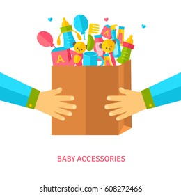Hands holding shopping bag with baby accessories. Vector Illustration. Goods for new born child. Flat style. Toys, cosmetics, gifts.
