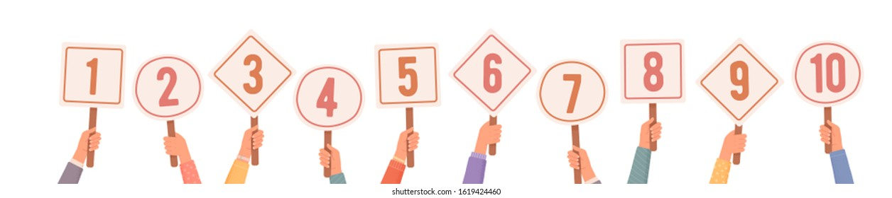 Hands holding signs with amount of scores got. Votes of judges. Tournament or contest. Hands Holding Scorecards. Vector illustration