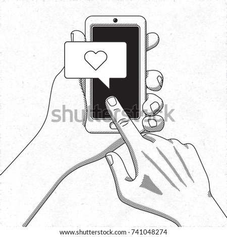 Hands Holding Smartphone Mobile Phone Operating Stock Vector