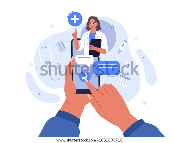 Hands Holding Smartphone with Video Call on Screen. Patient having Online Conversation with Doctor. Modern Health Care Services and Online Telemedicine Concept. Flat Cartoon Vector Illustration.