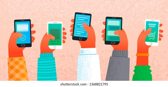 Lot of hands holding smartphones. The concept of work and communication on the Internet. Male and female arms with phone. People and gadgets. Vector illustration in flat style