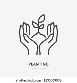 Hands holding soil with plant flat line icon. Vector thin sign of environment protection, ecology concept logo. Agriculture illustration.
