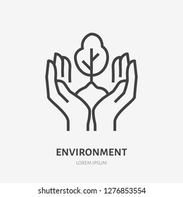 Hands holding soil with tree flat line icon. Vector thin sign of environment protection, ecology concept logo. Landscaping illustration, plant growing emblem.