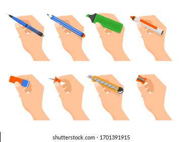 Hands holding stationery vector isolated. Office supplies and school equipment. Pen, pencil and other handwriting tools. Eraser and sharpener.