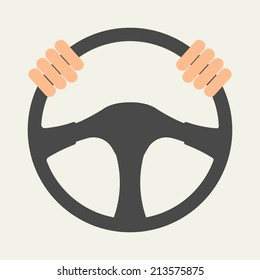 Hands holding steering wheel, vector illustration in flat style.