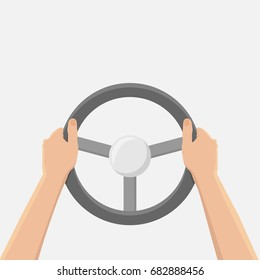 Hands holding steering wheel, vector illustration in flat style,driver car